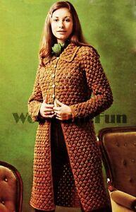 "Knitting Pattern Lady's Long Cardigan/Coat. Cluster Stitch Design. 32""- 46"" Bust"