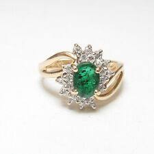ALWAND VAHAN Estate 14K Yellow Gold 0.85 Ct Natural Green Emerald Diamond Ring