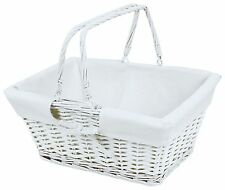 White Lined Wooden Twisted Wicker Picnic Basket