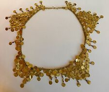 Belly Dance Costume Hip Gold Coin Arabic Authentic Coins Large Blue Detail Rare