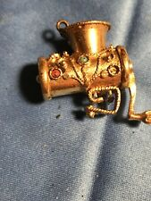 "Vintage 14 Karat Gold 3-Dimensional Mechanical ""MOVABLE"" Meat grinder Handmade"
