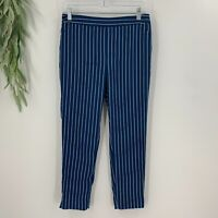 Banana Republic Womens Hayden Pants Size 4P Blue Striped Cropped Trousers Skinny