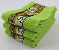 Pack of 3 Cafe Cafe Kitchen Tea Towel in Lime Green 100% Cotton 50cm x 65cm
