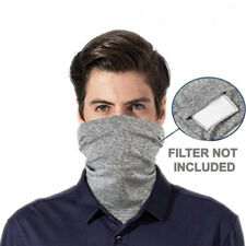 Face Mask Cotton Washable With Filter Pocket Reusable Mouth Cover Gray Scarf
