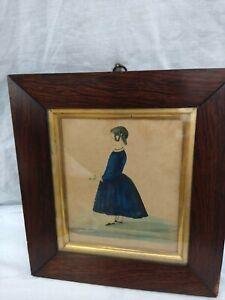 "Original Veneer Framed Antique Watercolour Painting 10""x9"" Naive Folk Art US ?"