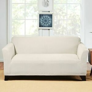Sure Fit Hudson Stretch Sofa Slipcover One Piece Couch Cover CREAM washable