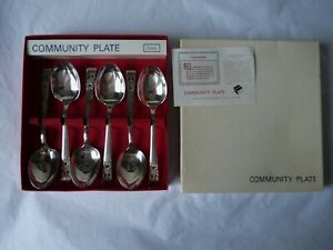 Vintage Box of 6 Community Silver Plate Fruit Spoons ~ Hampton Court ~ Oneida