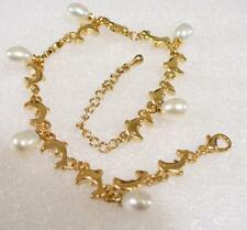 Dolphin Bracelet Fresh Water White Pearls 18K Gold Plated 7.5 + 1.5 inch UK