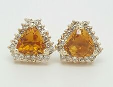 14k yellow gold natural diamond and trillion citrine cluster earrings 3.57 TCW