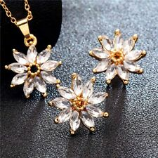 Flower Cubic Zirconia Clear Crystal Gold Plated Bridal Wedding Jewelry Sets