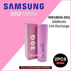 2x Li-ion Flat Top Lithium Ion Samsung INR18650-30q 3000mAh 3.7V HIGH CURRENT