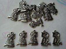 15 X Tibetan Silver Owl Charms / Pendants