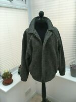 Mens Vintage Farah grey chevron wool coat M zip up coat