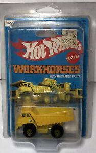 Vintage 1979 Hot Wheels Workhorses CAT Yellow Dump Truck-Mattel-1171 Hong Kong