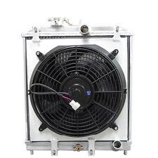 3 Rows Aluminum Radiator + Shroud Fan For Civic DEL SOL B16 B18