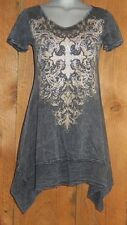 nwt VOCAL TUNIC DRESS SHIRT western bling TYE-DYED COAL MED FLEUR-DE-LIS vintage