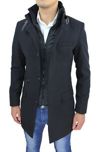 Mens Black Coat Jacket Casual Slim Fit Fitted Winter Trench