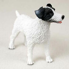 Jack Russell Hand Painted Dog Figurine Statue Black/White Rough