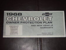 1968 Nova SS Factory GM Original Owner Protection Plan 114698W Car sold On 7/24