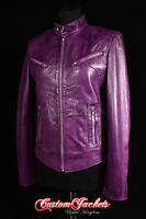 Ladies RUSH Purple Washed Motorcycle Biker Girls Fitted Real Leather Jacket