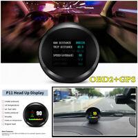 On-board Smart Car OBD2+GPS HUD Head-Up Speedometer Multi-Display Guage Alarm
