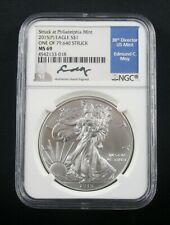2015 (P) SILVER EAGLE STRUCK AT PHILADELPHIA MINT NGC MS 69 MOY SIGNATURE