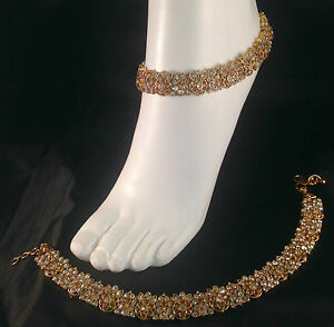 Gold anklet payal chanjar foot chain diamante bollywood jewellery SV23-503gwlct