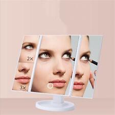 Vanity Makeup Mirror 22-LED Lighted 2/3/10X Magnification Travel Desktop Trifold
