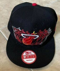New Era 9Fifty Miami Heat HWC Black & Red Hat Cap Snapback One Size NEW w/ decal