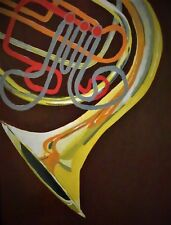 """Acrylic Painting of Abstract French Horn on Canvas 14x11"""""""