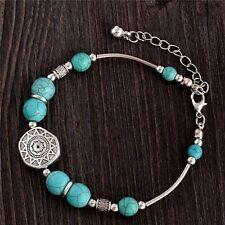 Turquoise & Silver Cuero Buddha Bracelet Boho Jewellery Gypsy Bohemian A018