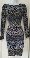 Womens Boden Blue Cream Spotty Stretch Jersey Long Sleeve Shift Dress 8.