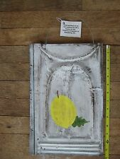 Rustic White Washed LEMON Metal Roofing Tin Sign Distressed Retro Vintage 14 x 9