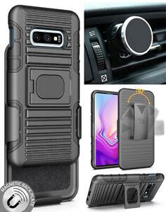 Black Rugged Case + Belt Clip + Magnetic Car Mount for Samsung Galaxy S10e