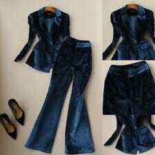 Office Lady Women Coat Slim Short Velvet Blazer Jacket Trousers Dress Party Suit