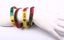 4PC Rasta Bob Marley Silicone Rubber elastic Bracelet One size