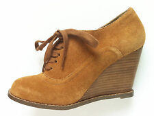 OFFICE High Heel Wedge Shoes Ankle BOOTS Tan Brown Suede Lace up Size 3 EU 36