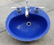 VINTAGE CAST IRON KOHLER BATHROOM SINK - COBALT BLUE