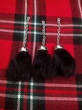 Escocés COMPLETO Escarcela De Vestido Repuesto Borlas Negro Piel / Kilt
