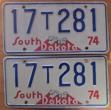 South Dakota 1974 CHARLES MIX COUNTY FARM TRUCK License Plate PAIR NICE # 17T281