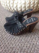 """ladies size 3 f+f black suede mules 4"""" heel"""