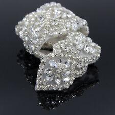 Crystal Rhinestone Sewing Applique Wedding Bridal Dress Belt Sash Crafts Silver