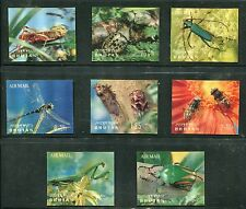 Bhutan 101-101G, 101Ch, 101Gi 3-D Insects Complete Set of 8 Stamps, 2 Sheets, NH