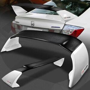 For 2012-2015 Honda Civic 4DR MUGEN Carbon Fiber Factory White Rear Spoiler Wing