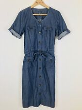 Sportscraft Size 10 Dress Denim Blue Button Up TShirt Tie Waist Body Con RRP$179
