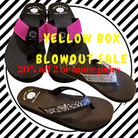 New Womens Yellow Box BLOWOUT Sandals Flip Flops Size 6 7 8 9 Black Bling+