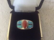 Turquoise Coral Sterling Silver Opal Ring New Old Stock Size 5.75