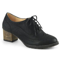 Pin Up Couture RUSSELL-34 Women's Black Faux Leather Block Heel Spectator Oxford