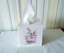 Tissue box cover Cube holders Roses Vintage handmade Shabby chic organizer