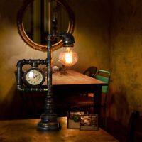Antique Industrial Brass Table Light Edsion Bulb Style Desk Lamp with Clock